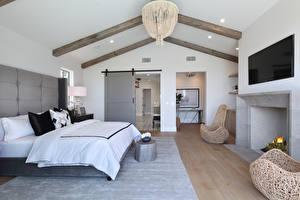 Обои Интерьер Дизайн Спальня Кровать Камин Люстра фото