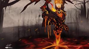 Фотография DOTA 2 Шедоу финд СФ Монстры Демоны Огонь Игры Фэнтези
