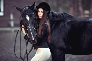 Картинки Лошади Конный спорт Шатенка Униформе Смотрит Шлем молодая женщина Животные