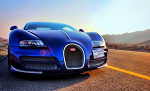 Обои BUGATTI Синий Спереди Фары veyron vitesse Автомобили фото