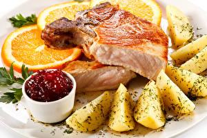 Обои Вторые блюда Мясные продукты Картофель Апельсин Кетчуп Еда фото
