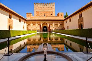 Обои Испания Парки Дома Фонтаны Кусты Alhambra Park Granada Города фото