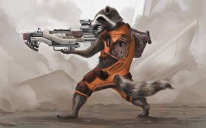 Фотография Стражи Галактики Еноты Винтовки Кино rocket raccoon Фильмы Фэнтези