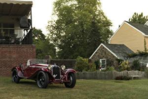 Картинка Альфа ромео Тюнинг Ретро Бордовая Металлик 1931-34 8C 2300 Spider Touring машина