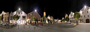 Фотографии Германия Дома Вечер Бавария Улиц Уличные фонари Kelheim Города