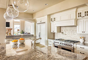 Обои Интерьер Дизайн Кухня Стол Кран водопроводный Лампа фото