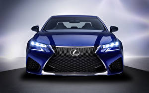 Фотографии Lexus Спереди Синий GS F Автомобили
