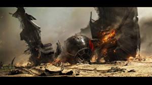Обои Звездные войны Звёздные войны: Пробуждение Силы Фантастическая Огонь Дым Фэнтези