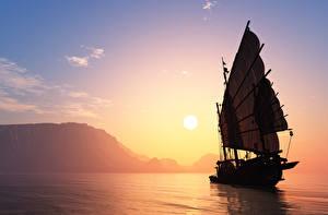 Фотография Парусные Рассветы и закаты Море Небо Солнце 3D Графика Природа