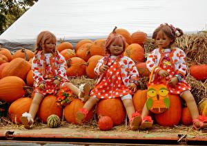 Обои Германия Парки Тыква Осень Кукла Девочки Платье Grugapark Essen Природа фото