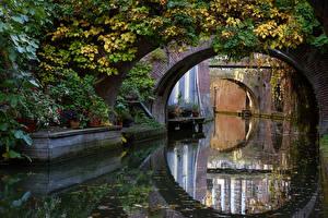 Обои Нидерланды Мосты Утрехт Водный канал Природа фото