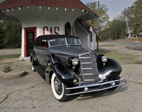 Обои Cadillac Ретро Черный Металлик 1934 V12 370-D All Weather Phaeton by Fleetwood Автомобили фото