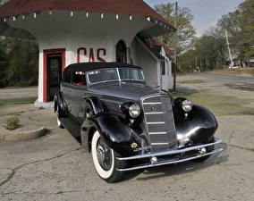 Обои Cadillac Винтаж Черный Металлик 1934 V12 370-D All Weather Phaeton by Fleetwood Авто