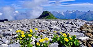 Картинки Камень Горы Франция Пейзаж Альпы Haute-Savoie