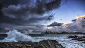 Обои Небо Океан Побережье Облака Тучи Природа фото