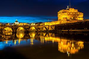Обои Рим Италия Замки Речка Мосты Ночь