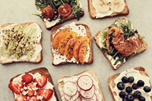 Картинки Бутерброд Хлеб Рыба Овощи Фрукты Завтрак Еда