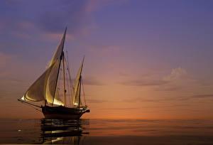 Картинка Море Парусные Рассветы и закаты Корабли 3D Графика