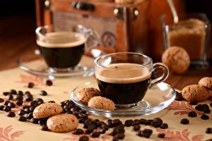 Фотографии Кофе Печенье Чашка Зерна Блюдце Пища