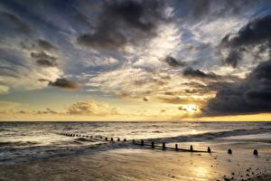 Обои Великобритания Пейзаж Рассветы и закаты Побережье Волны Небо Облака Dunraven Bay Wales Природа фото