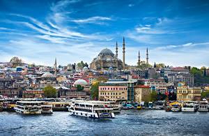 Картинка Стамбул Турция Здания Храмы Пирсы Корабли Небо Мечеть Речные суда Города