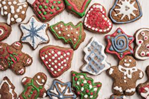 Фотографии Рождество Печенье Дизайн Елка Продукты питания