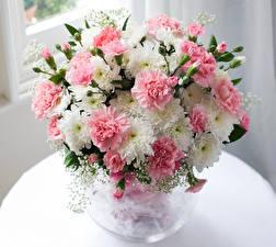 Фотографии Букеты Хризантемы Гвоздики Цветы