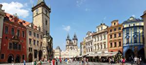 Обои Дома Чехия Прага Башня Городская площадь Улица Города фото
