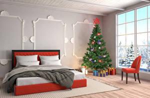 Фотографии Праздники Новый год Интерьер Елка Кресло Кровать Окно