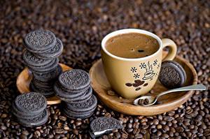 Фотографии Кофе Печенье Чашка Зерна Блюдце Ложка Еда