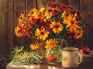 Картинки Натюрморт Букет Бархатцы Кружка цветок