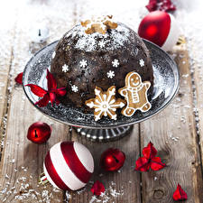 Обои Новый год Выпечка Печенье Снежинки Шар Продукты питания