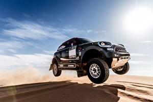 Обои Mini Небо Пустыни Серый Прыжок Песок 2017 John Cooper Works Rally Автомобили фото