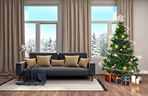 Обои Новый год Интерьер Свечи Дизайн Елка Гирлянда Подарки Диван Подушки Окно 3D Графика фото