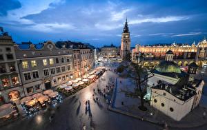 Обои Польша Дома Вечер Небо Краков Улица Башня Городская площадь Города фото
