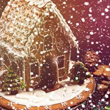 Картинка Новый год Выпечка Здания Пряничный домик Дизайн Снежинки Пища