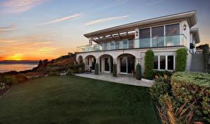Обои США Дома Рассветы и закаты Особняк Дизайн Газон Monarch Bay Города фото