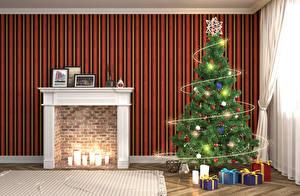 Обои Новый год Интерьер Дизайн Елка Камин Подарки Гирлянда Комната 3D Графика фото