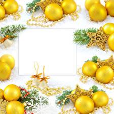 Фотографии Праздники Рождество Украшения Шаблон поздравительной открытки Шар Ветвь Колокольчики