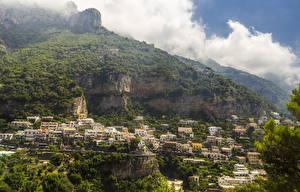 Картинки Италия Дома Горы Леса Позитано Скала