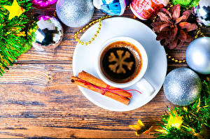 Обои Новый год Кофе Корица Чашка Шарики Снежинки Еда