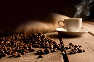Картинки Кофе Зерна Чашка Блюдце Доски Пар Пища