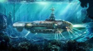 Фото Подводные лодки Паропанк Подводный мир Рисованные Twenty Thousand Leagues Under the Sea nautilus submarine