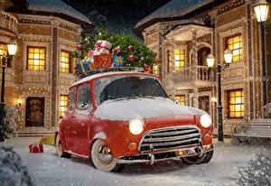Картинка Здания Рождество Подарки Ночь Уличные фонари Снеге Города Автомобили