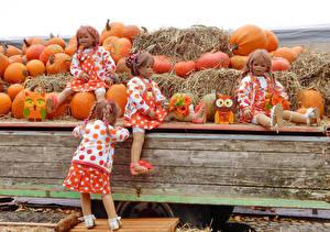 Обои Германия Парки Осень Тыква Кукла Девочки Сено Grugapark Essen Природа фото