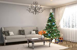 Обои Праздники Новый год Интерьер Дизайн Гостиная Диван Елка Подарки Люстра Комната 3D Графика фото