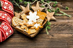 Фотография Рождество Печенье Доски Еда