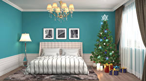 Обои Праздники Новый год Интерьер Дизайн Спальня Кровать Елка Люстра Подарки Комната 3D Графика фото