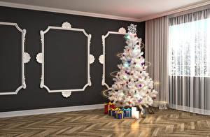 Картинки Праздники Рождество Новогодняя ёлка Подарки Гирлянда Комната Стенка 3D Графика