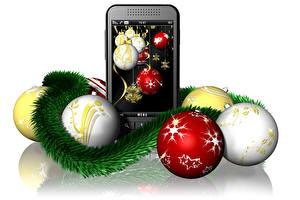 Фото Праздники Рождество Белый фон Телефон Шар Смартфон